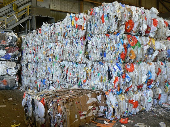 Baled plastic for recycling