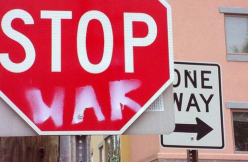 """""""Stop War"""" sign."""