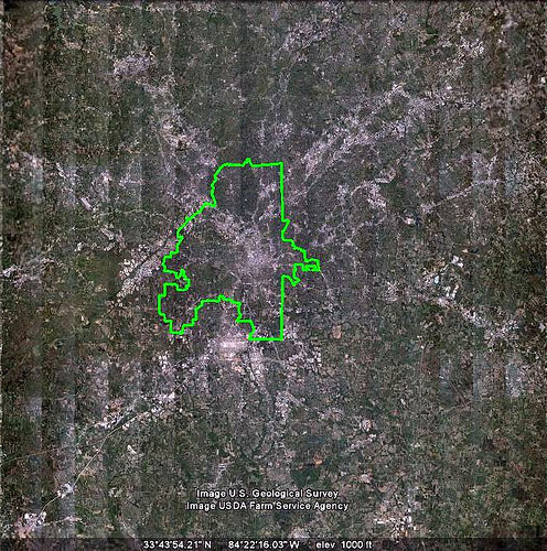Atlanta outline, Google Earth