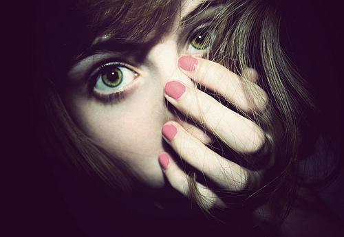 Woman with nail polish