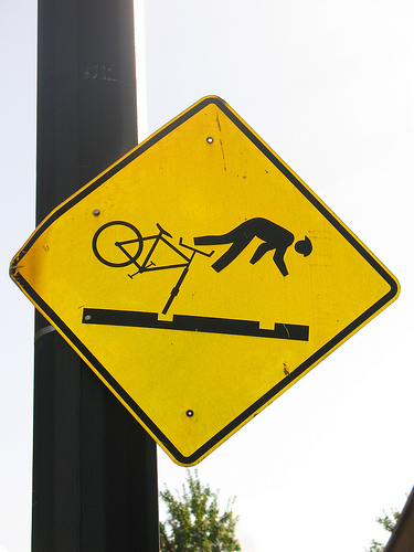 Caution sign for bicyclists