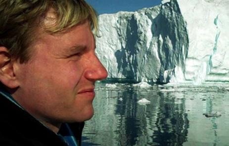 economist Bjorn Lomborg in front of a glacier
