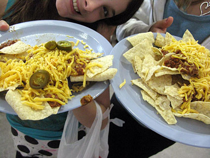 Girls with nachos