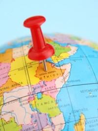 Ethiopia marked on globe