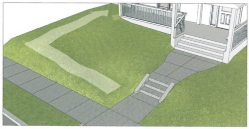 Grass ramp to a house.
