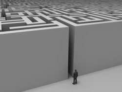 man facing labyrinth