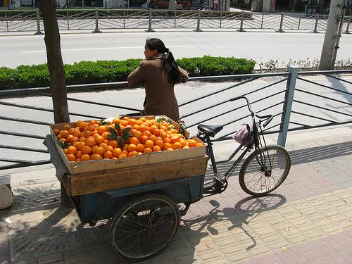 Orange vendor with bike, China.