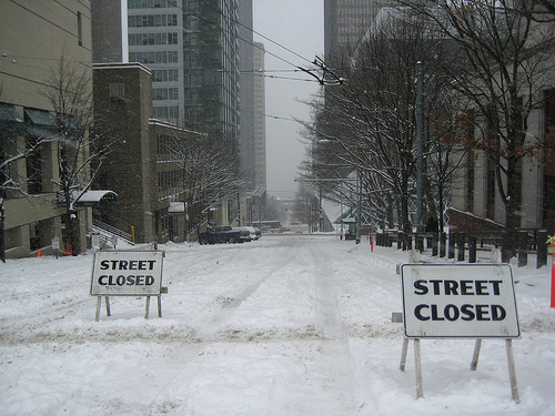 Street closed in Seattle because of snow.
