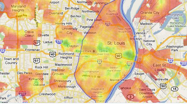 St. Louis heat map