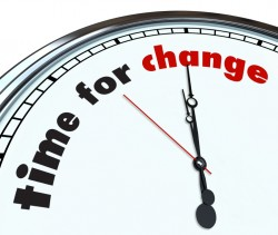 clock face that says 'time for change'