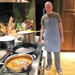 Tom Philpott in apron