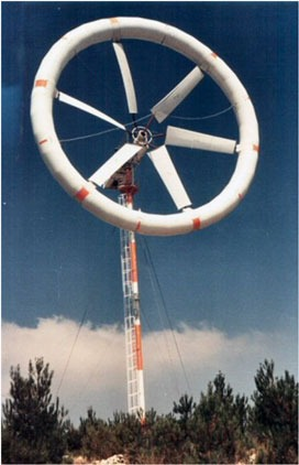 An inflatable wind turbine developed by one of the winners, WinFlex
