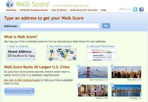 Walk Score screenshot.