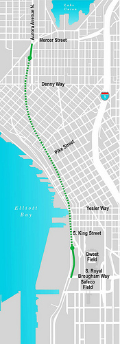 The proposed route for Seattle's deep-bore tunnel.