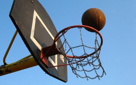 basketball on the rim