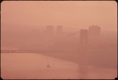 George Washington Bridge through heavy smog in New Jersey and New York.