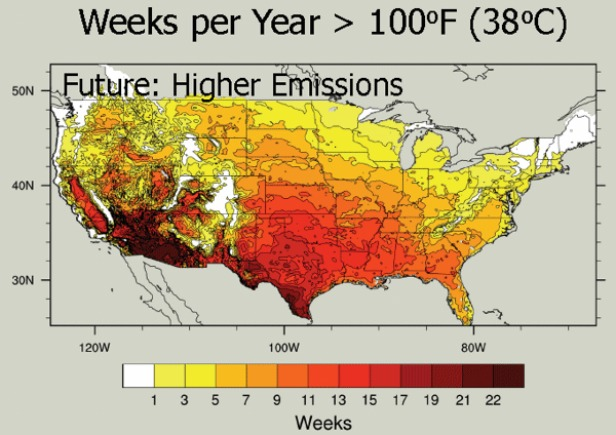 Weeks per year greater than 100 degrees Fahrenheit