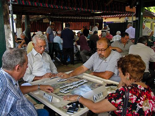 Playing dominoes in Little Havana.