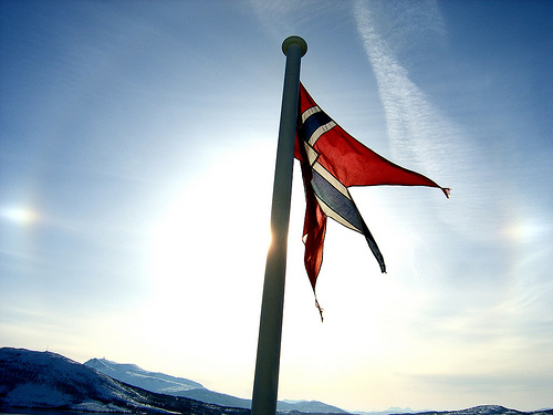 Norwegian flag in sun.