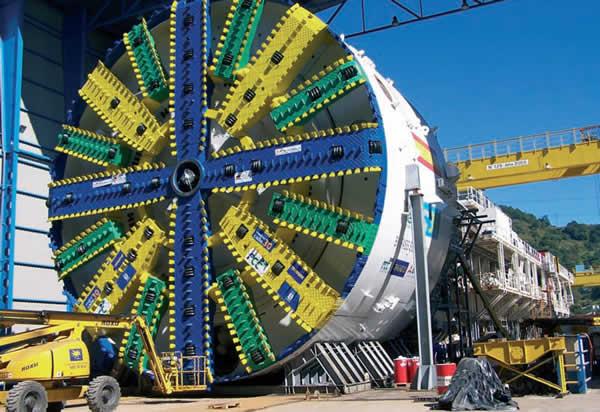 A gigantic tunnel boring machine.