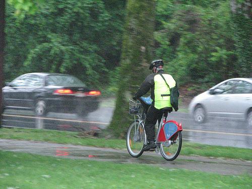 Bike share in the rain, Lyon, France.