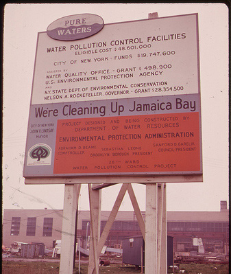 Sign on a water pollution control plant