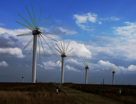 Wind turbines in action.