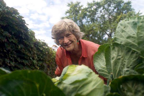 Joan Gussow in her garden