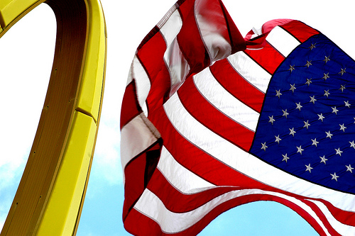 American flag and McDonalds M