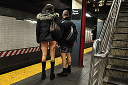 Participants in the No-Pants Subway Ride