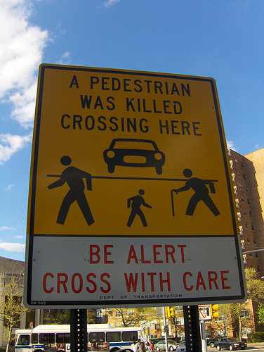 Pedestrian killed here sign