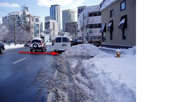 Snow covered bike lane