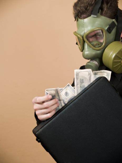 Gas mask and money