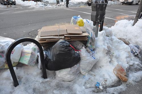 Trash on street.