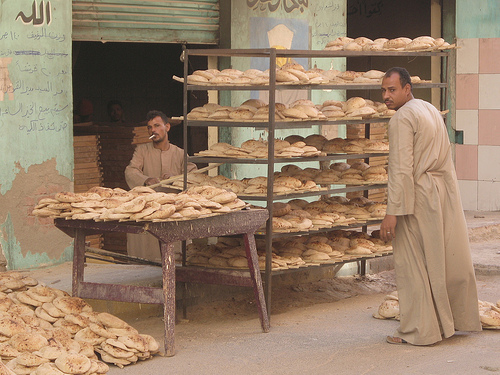 Men with bread in Egypt
