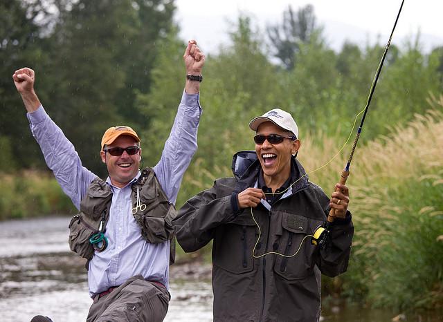 The president flyfishing in Montana.