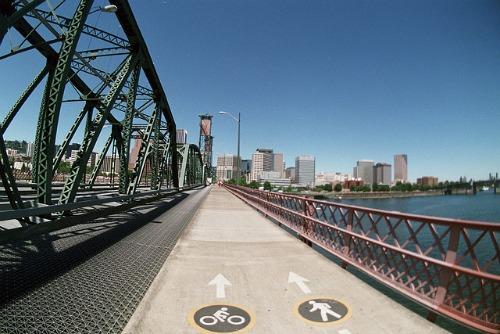 Bike lane over a bridge in Portland, Oregon
