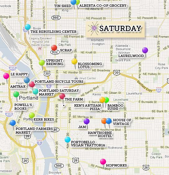 Map of green destinations in Portland, Oregon