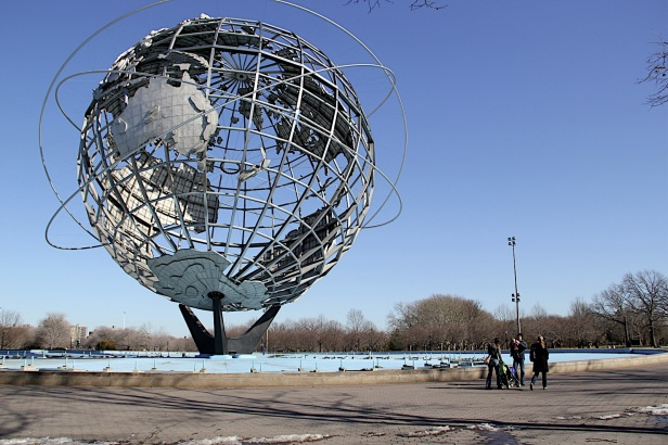 steel globe in Queens