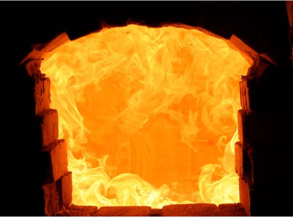 flames in a furnace