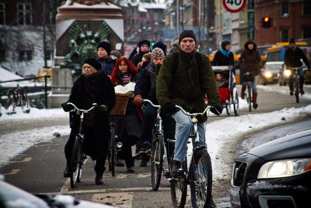 Winter bike traffic