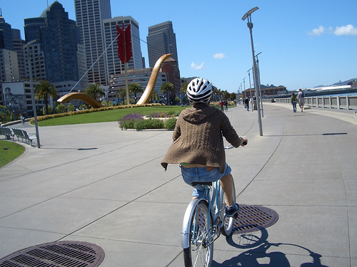 Woman on bike in SF.
