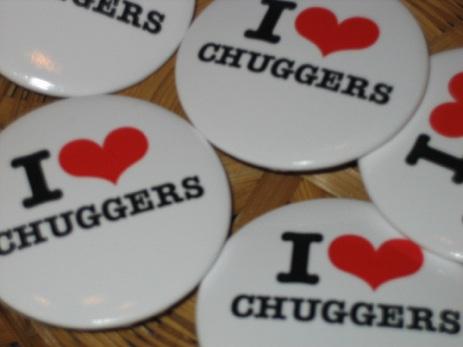 I heart chuggers pins