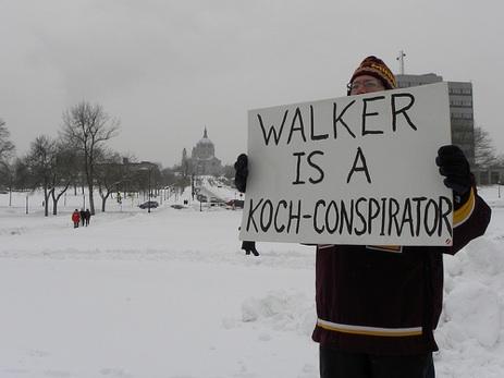 """""""Walker is a Koch-Conspirator"""" sign"""