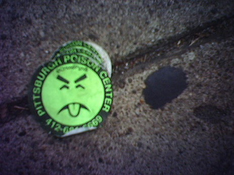 Poison control sticker