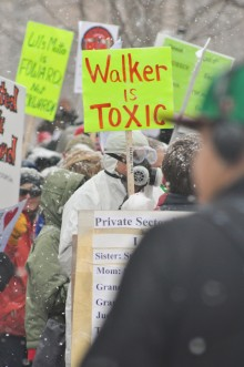"""protest sign: """"Walker is toxic"""""""