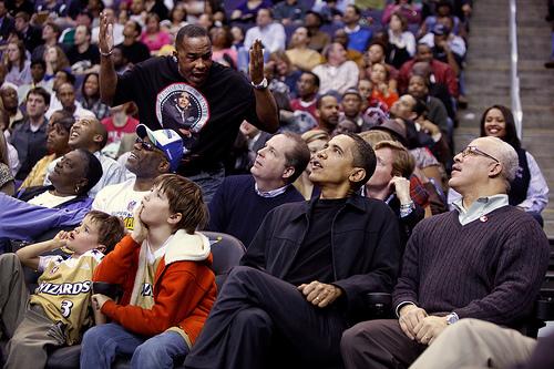Obama at a basketball game.