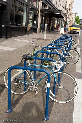 Bike corral in Portland