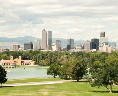 Denver park and skyline
