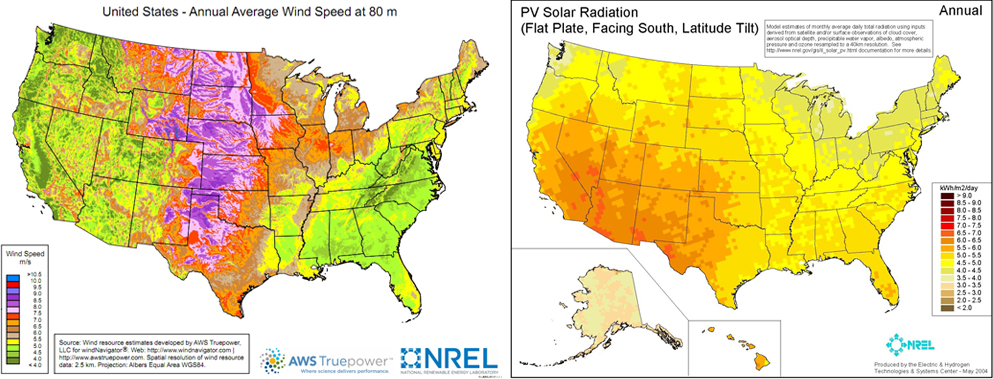 US wind and solar power potential